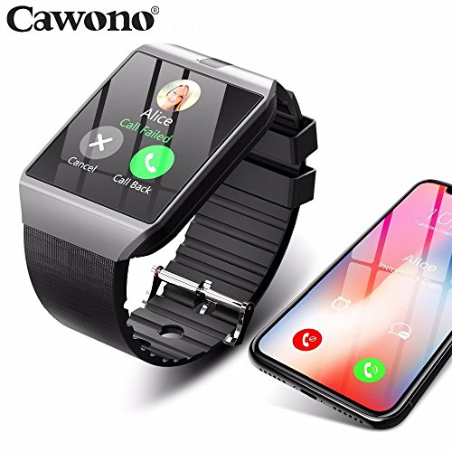 cawono Bluetooth Smart Watch Smartwatch DZ09 Android Phone Call Relogio 2G GSM SIM TF Card Camera for iPhone Samsung HUAWEI PK GT08 A1 (Sliver/China)