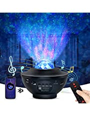 OTTOLIVES projektor i lampka nocna LED 2 w 1, gwiazdki, galaktyka i mgławica - obrotowy projektor fal oceanicznych, z pilotem i muzyką, funkcja Bluetooth, dekoracja sypialni dla dzieci i dorosłych