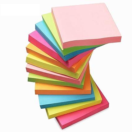 Pegatinas para notas adhesivas, 12 piezas/6 colores neón ...