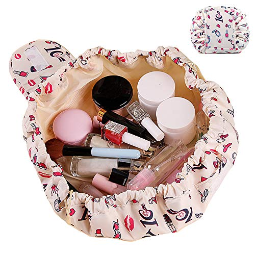 SANBLOGAN Drawstring Makeup Bag, Lay Flat Quick Makeup Bag Lazy Travel Cosmetic Bag Waterproof Cute Makeup Bag That Opens Flat Toiletry Bag for Women Men Girls, Beige