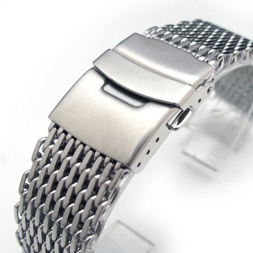 19mm Ploprof 316 Reform Stainless Steel ''SHARK'' Mesh Milanese Watch Band, Brushed, BB by 19mm Mesh Band (Image #1)