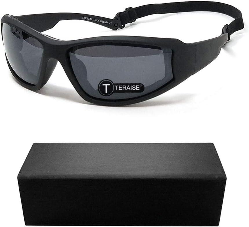 TERAISE Gafas de montar de la motocicleta gafas de esquí de seguridad UV400 ajustable gafas de sol a prueba de polvo a prueba de viento antiniebla para varios deportes al aire libre(Black)