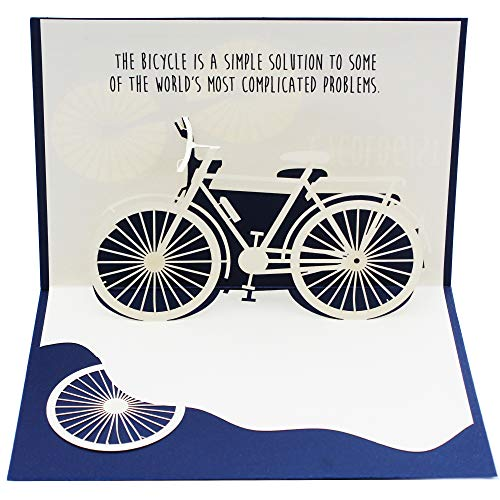 Dekali Designs Cycologist Bicycle Pop up Card | Great Addition to Bike Gifts for Men or Women Who Love Biking | With a Nice Inspirational Bicycle Quote on the Inside