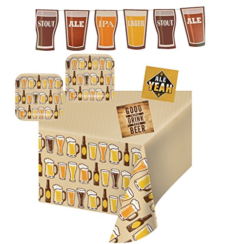 Celebration 7' Plates (Beers & Cheers Party Supplies for 16 Guests, Plates, Napkins, Table Cover, Banner)