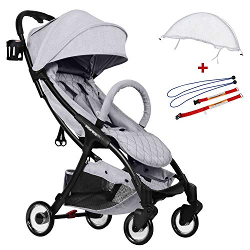 Compact Stroller 2020 Ultra Lightweight Baby Stroller + Universal Mosquito Net + Universal Car Seat Adapter Light Grey & White