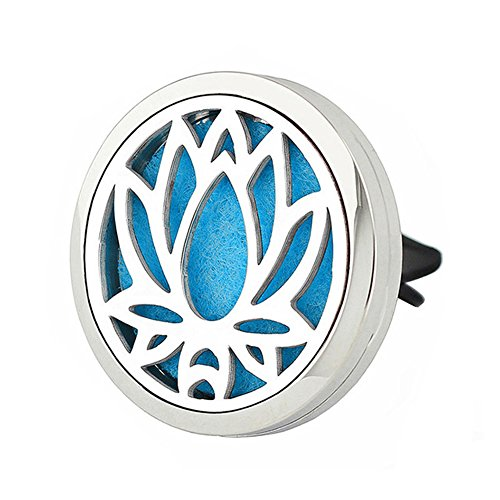 Jenia Aromatherapy Essential Oil Diffuser Vent Clip - Car Air Freshener Stainless Steel Locket - Improve Air Quality