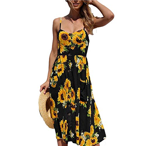 Dress Women Beach Floral Maxi Sunflower Boho Chiffon Off Shoulder Midi Sexy Dress with Button Black Dress M