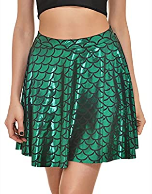 Delcoce Women Shiny Fish Scale Print Mermaid Flare Pleated Swing Mini Skirt S-3X