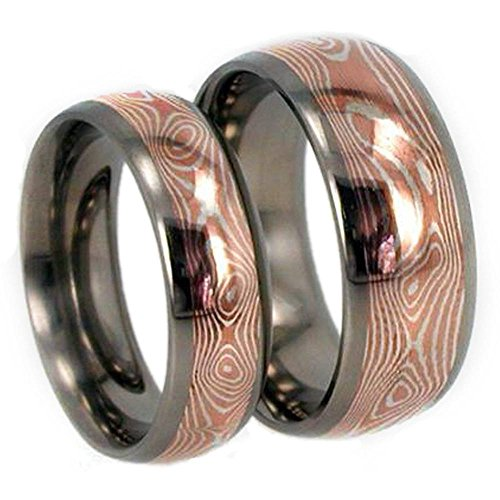 Copper and Silver Mokume Gane Titanium Couples Wedding Rings, M10-F4.5 by The Men's Jewelry Store (Unisex Jewelry)