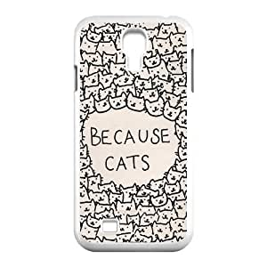 CTSLR Funny BECAUSE CATS Hard Case Cover Skin for Samsung Galaxy S4 I9500-1 Pack- 4 by runtopwell