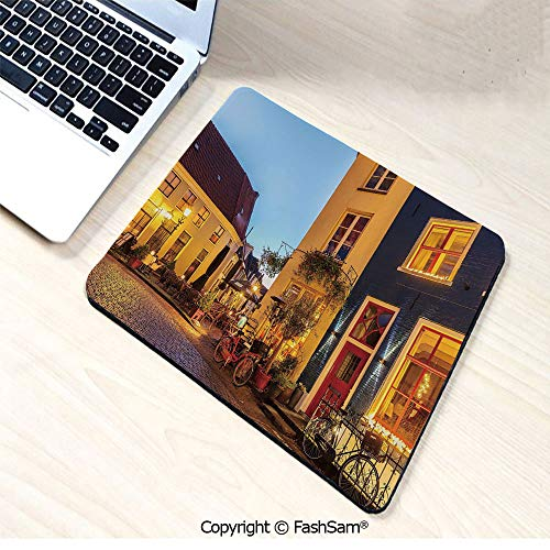 (Desk Mat Mouse Pad Ancient Dutch Street with Houses Small Restaurants Doesburg The Netherlands for Office(W9.85xL11.8))
