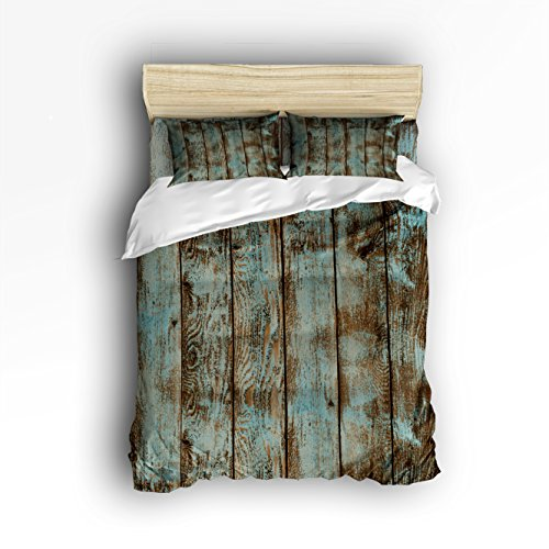 Vandarllin Queen Size Bedding Set- Decorative Rustic Old Barn Wood Art Duvet Cover Set Bedspread for Childrens/Kids/Teens/Adults, 4 Piece 100% Cotton