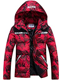 Men's Winter Hooded Camouflage Quilted Puffer Coat Padded Jacket Parkas Outwear