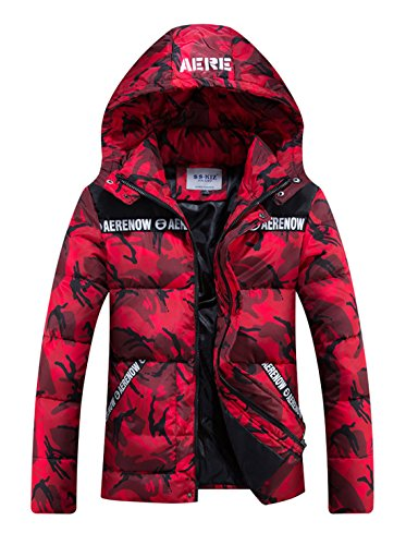 Hooded Camouflage Quilted Puffer Coat Padded Jacket Parkas Outwear (Medium, Red) (Camouflage Hooded Parka)