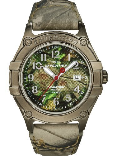 Timex Mens Expedition Camouflage Pattern Realtree INDIGLO Dial Leather Strap Watch T49850