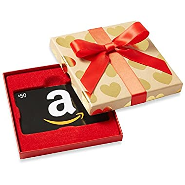 Amazon.com Gift Cards in Gold Hearts Box (Classic Black Card Design)