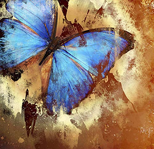 Hand Painted Canvas Paintings Vintage Art Rolled Tablet - 50X50cm (Approx. 20X20 inch) Unmounted for Living Room Wall Decoration - Butterfly Blue Wings
