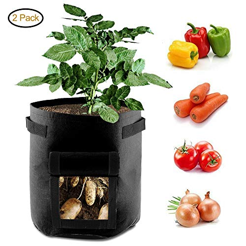 Grow Bags 7 Gallon Smart Planting Pots Double Layer Premium Breathable Nonwoven Cloth With Strap Handles Vegetable Planter Pouch Window 2 Pcs Black