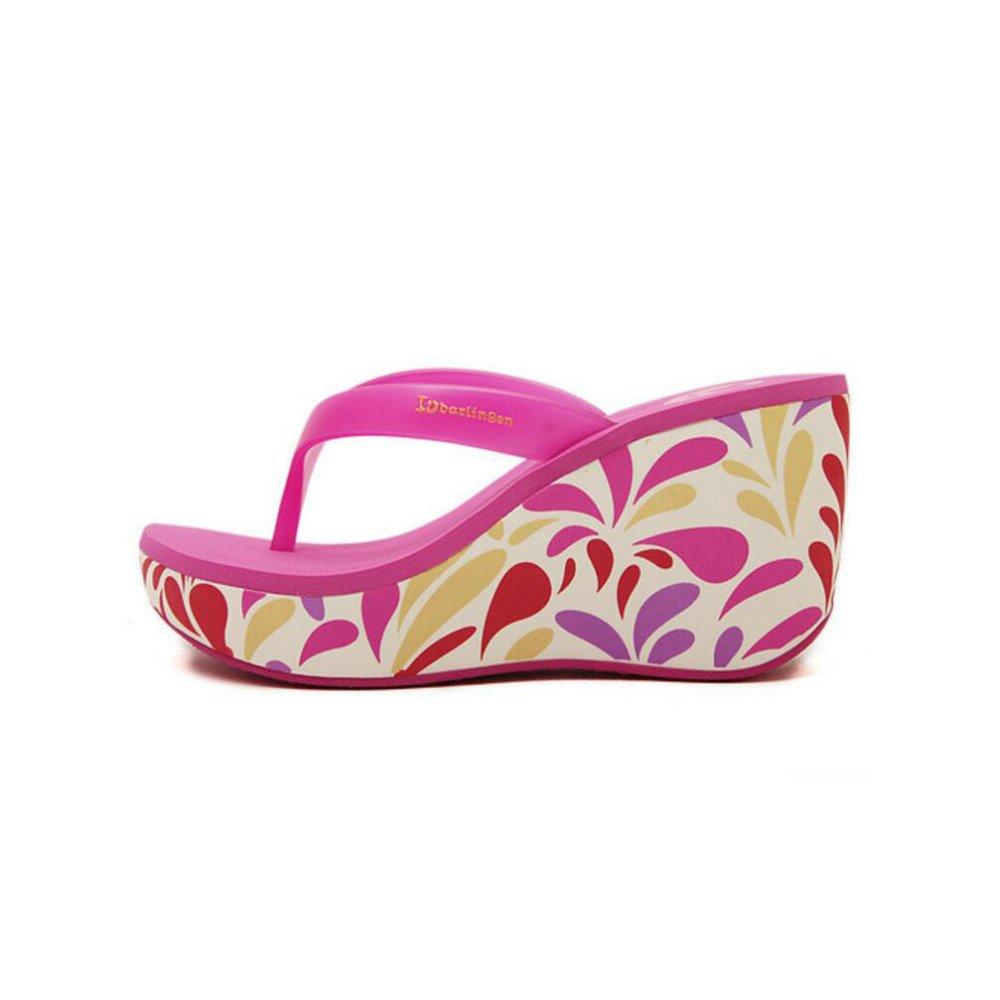 Womens Sommer Sandalen Bedruckte Steigung mit Flip-Flops Lässige Strand Hausschuhe Lässige Flip-Flops Rutschfeste Komfort Hausschuhe,Roesred-38 CHENGXIAOXUAN