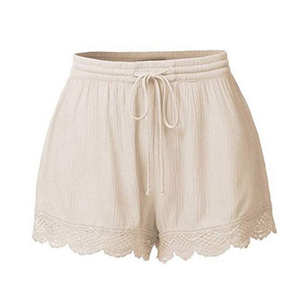 SEIGNEER Women Casual Beach Trim Short Pants Ladies Fashion Cotton Pajamas Loose Style Bottom Elastic Waist
