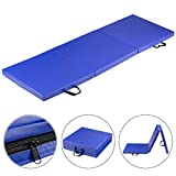 MAT EXPERT 6'x2′ Tri-Fold Gymnastics Mat For Tumbling Exercise Gym Fitness with Carrying Handles (Blue) Review