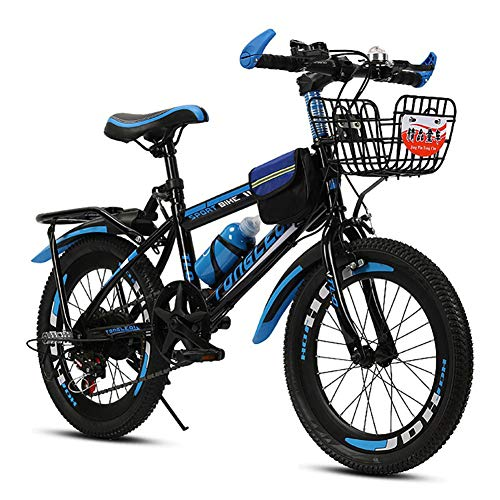 - FJW Unisex Mountain Bike 18 Inch 20 Inch 22 Inch 24 Inch High-Carbon Steel Hardtail Aluminium Alloy Lightweight Disc 6 Speed Student Child Commuter City Bike,Blue,18Inch