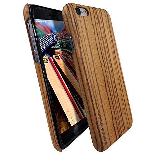 Raidfox iPhone 6/6s Natural Wood Hard Case - Eco-friendly FSC Forest Handmade Natural Wooden Cover - Hybrid Heavy Duty Woodback Protector Faceplate Nature Bond (Zebra)