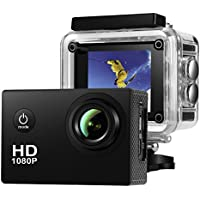 Action Camera ,Amuoc Waterproof 30m Sport Camera Full HD 1080P 2.0 Inch LCD Display 120 Degree Wide Angle Lens Sport Recorder Car Camera with Outdoor Accessories (Black)