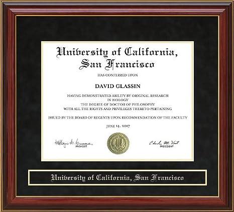Wordyisms University Of California San Francisco Ucsf Mahogany Diploma Frame