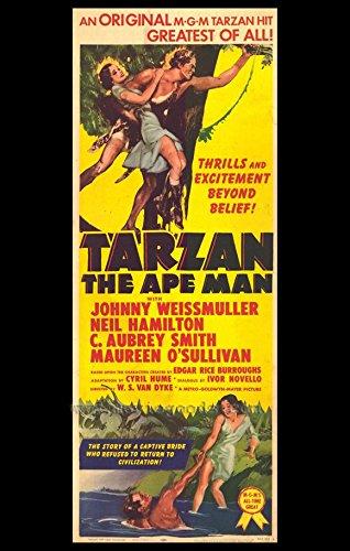 Tarzan the Ape Man Poster 27x40 Johnny Weissmuller Neil Hamilton Maureen O'Sullivan