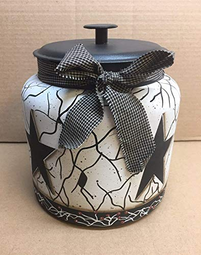 - Primitive Country Decor Hand Painted Farmhouse Black Star Faux Crackled Cookie Jar/Centerpiece Anchor Hocking 1.5 Gallon