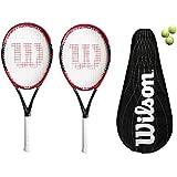 2 x Wilson Federer Pro BLX 105 Carbon BLX Tennis Rackets + 3 Tennis Balls RRP £370