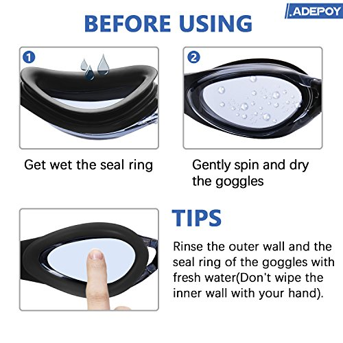 AdePoy Gafas de natación antiniebla transparente con protección UV, sin fugas, fácil de ajustar, cómodas para adultos, hombres y mujeres, color negro y azul ...