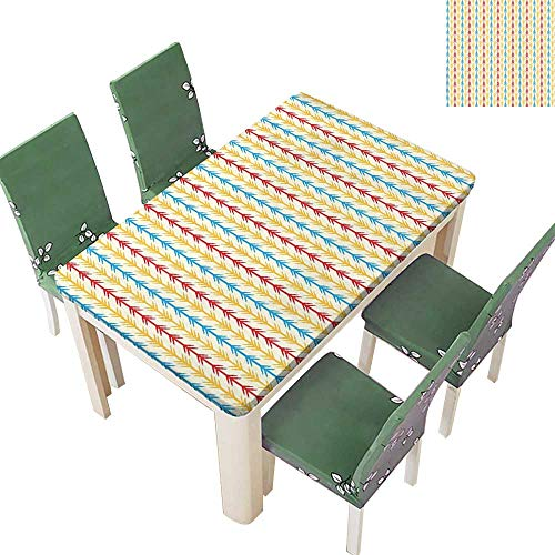 Primitive Cloth Doll Patterns - SpillProof Tablecloth Arrow Pattern with Folk Style Traditional Primitive Textured Tones Design for Picnic,Outdoor or Indoor 54 x 102 Inch (Elastic Edge)