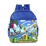 Toddler Kids Super Mario Brothers School Backpack Funny Children School Bag RoyalBlue