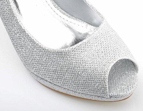 Argent Scintillant Bout-Ouvert Talons Hauts Plate-Forme Chaussures de Mariee Talons de Soiree