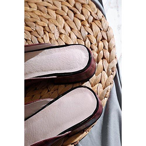 Toe Wine Clásico Repujado Mujer Tacón Para Zapatilla Confort KJJDE Cuero L0104 Zapatos Sandalias Chanclas Caminar Peep WSXY P4qUwq