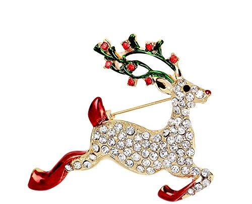 Ecloud Shop® European Style Rhinestone Deer Brooch Crystal Pin Suitable for Christmas Day Daily Wear Ecloud ShopCA