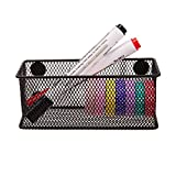 VANRA Wire Mesh Magnetic Storage Basket Hanging Supply Organizer Case Accessory Organizer Holder Caddy for Kitchen Office (Black)