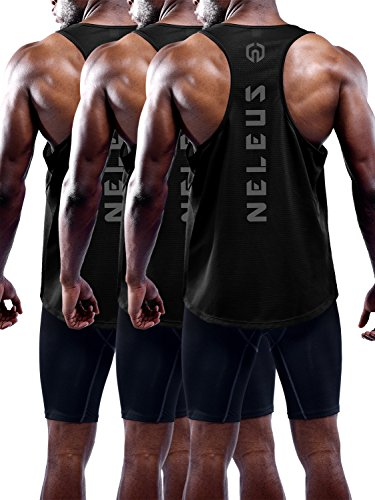 Neleus Men's 3 Pack Dry Fit Y Back Muscle Tank Top
