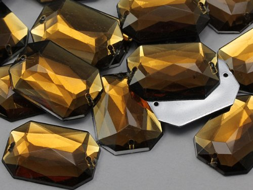 (14x10mm Smokey Topaz CH25 Octogon Flat Back Sew On Beads for Crafts - 72 Pieces)