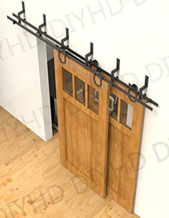 55ft horseshoe rustic black bypass sliding barn wood door hardware 55ft bypass