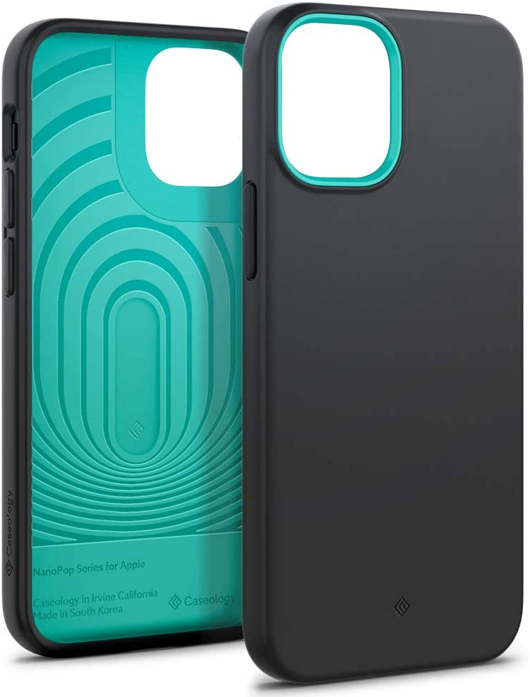 Caseology Nano Pop Silicone Case Compatible with iPhone 12 Mini Case (2020) - Prune Charcoal