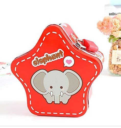 BGRFEB Cartoon Pentacles Piggy Bank Children's Gift Creative Tinplate Piggy Bank with Lock (Red) Desktop Decor Money ()