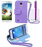 The Friendly Swede Basics - PU Leather Stand Wallet Case Cover for Samsung Galaxy SIV Mini S4 Mini i9190 / i9192 / i9195 / i9198 + Matching Stylus + Screen Protector + Cleaning Cloth (Purple)