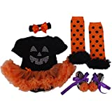 BabyPreg Infant Girls' Halloween Pumpkin Dress 4PCS Headband Legging Shoe