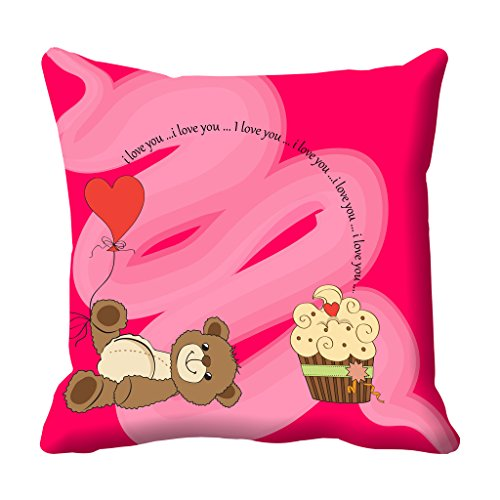 meSleep Love you Teddy Valentine Digital Printed Cushion (With Filler)