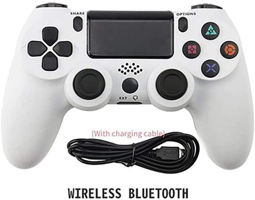 Wireless Controller, Controlador De PS4 Recargable Joystick Gamepad Motor Incorporado Vibración con La Superficie Táctil Y Barra De Luz Y Conector De Audio,Blanco