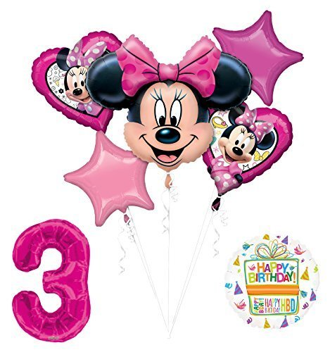 Mayflower Products New Minnie Mouse 3rd Birthday Party Supplies Balloon Bouquet Decorations