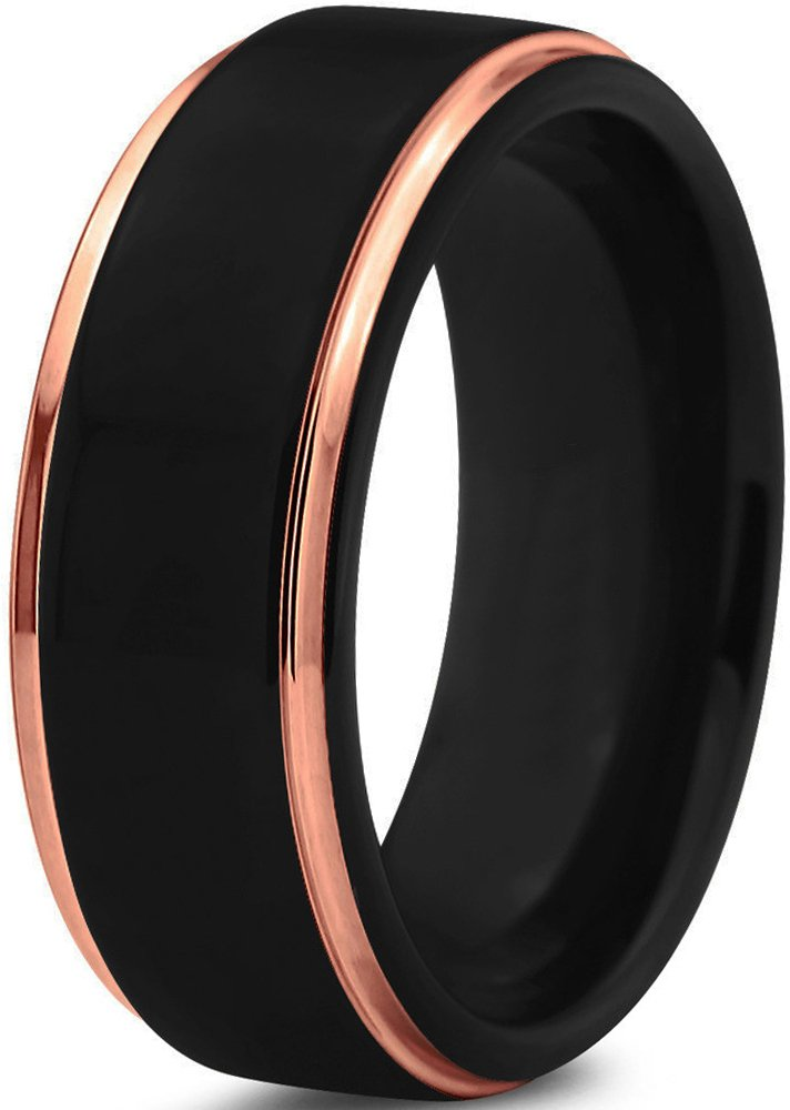 black 18k rose gold stepped edge polished tungsten wedding band ring 6mm comfort fit - 51yKUb1DjuL - Black 18K Rose Gold Stepped Edge Polished Tungsten Wedding Band Ring 6mm Comfort Fit